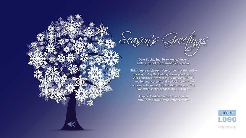 Corporate Holiday eCard 2015 - Snow Tree Winter