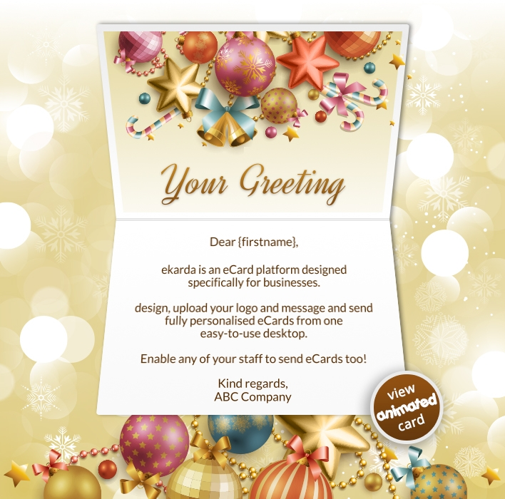 Animated Webpage eCards for Business: Golden Baubles