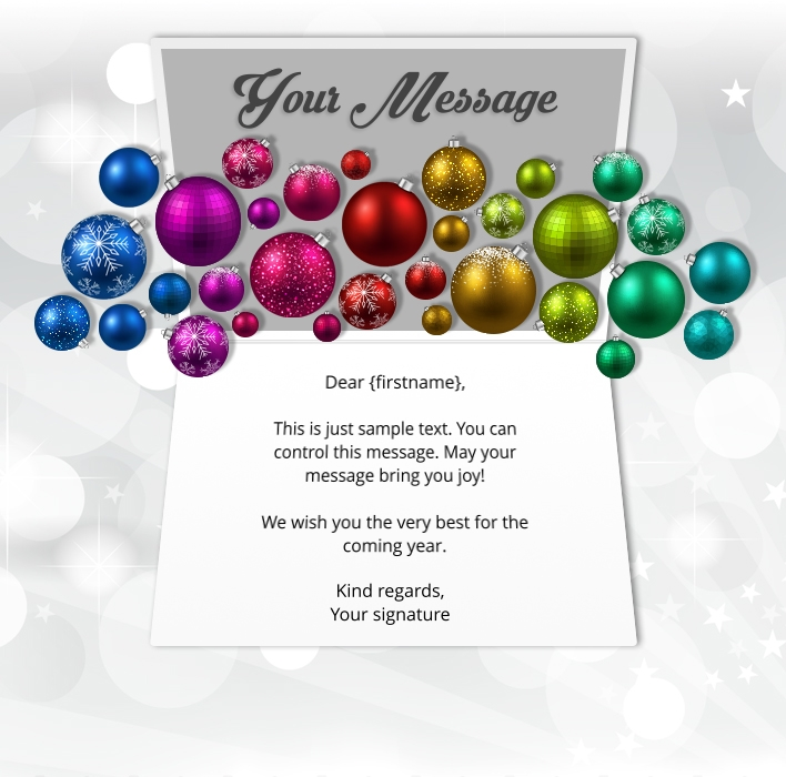 Static Christmas eCards for Business: Colourful Baubles