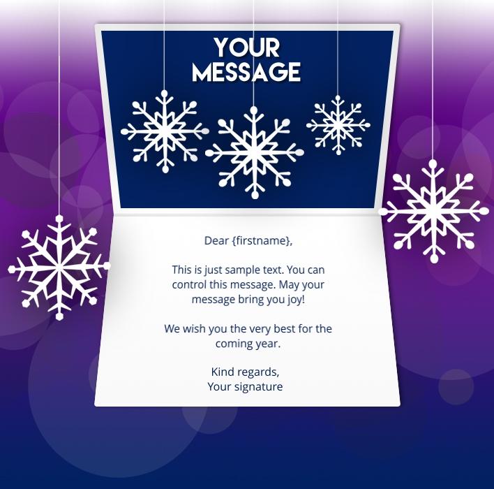 Static Christmas eCards for Business: Purple Snowflake
