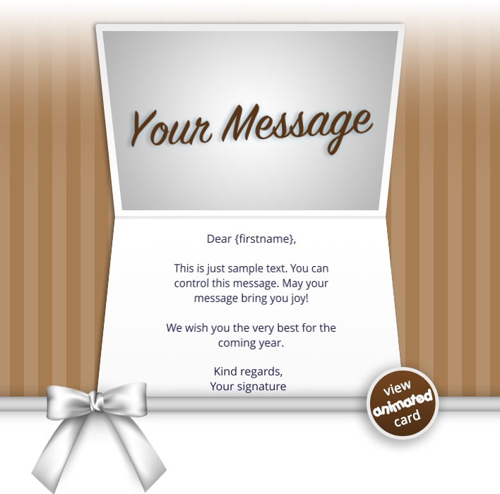 Interactive Thank You/Anniverdary/Employee Recognition eCards for Business: Animated Thank You Bow Brown