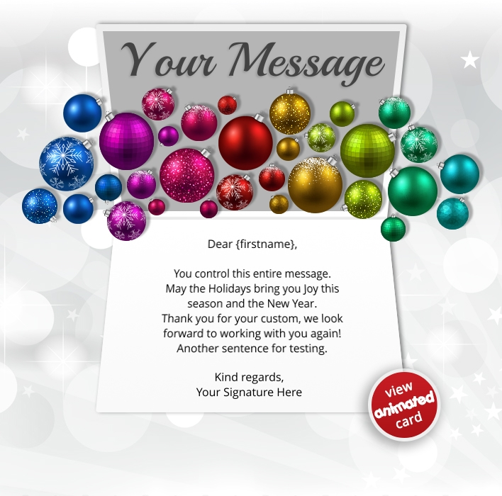 Animated Webpage eCards for Business: Animated Colourful Baubles