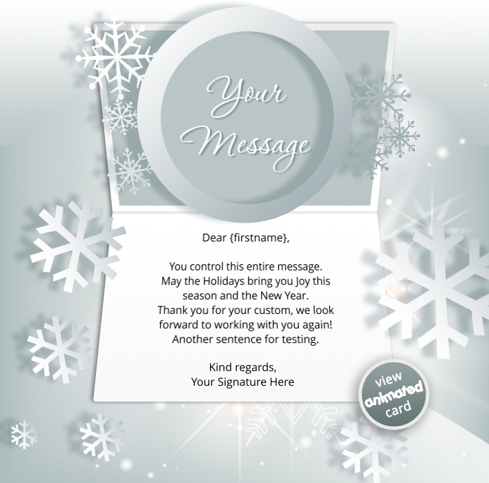 Corporate Holiday eCards for Business with logo 2016: Animated Snowflakes