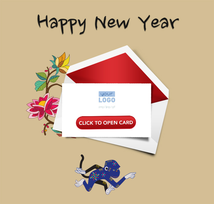Interactive Chinese Lunar New Year 2016 eCards for Business: Blue Lunar Monkey