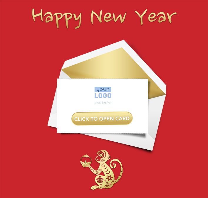 Interactive Chinese Lunar New Year 2016 eCards for Business: Red Lunar Monkey