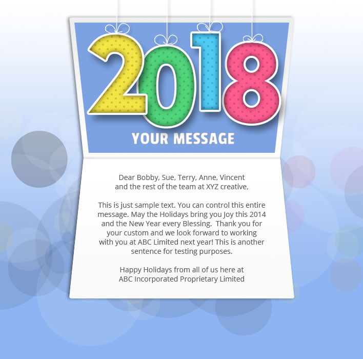 New Year Static eCard eCards for Business: Mobile Colour 2018