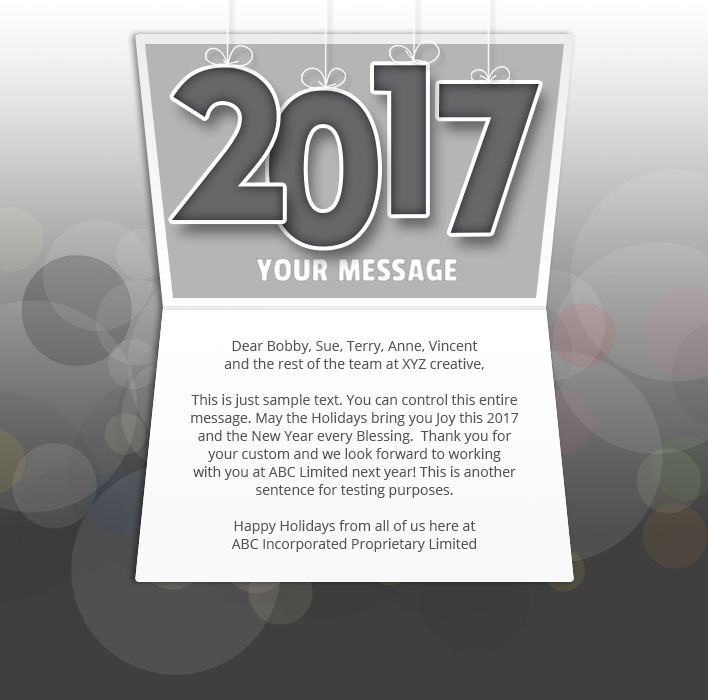 New Year Static eCard eCards for Business: Mobile Dark 2017