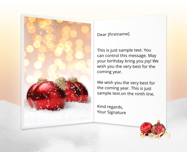 Static Christmas eCards for Business: Snow Baubles