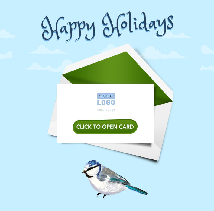 Corporate Holiday eCards for Business with logo 2016: Animated Robin Teaser
