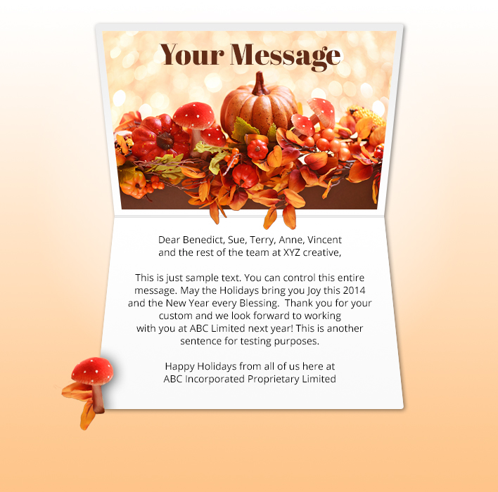 Thanksgiving eCards for Business: Pumpkin Bokeh
