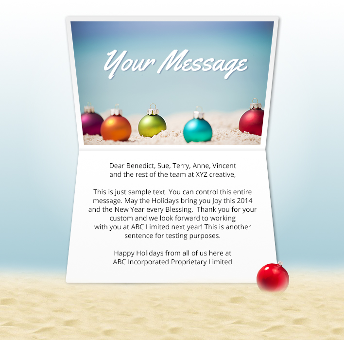 Static Christmas eCards for Business: Beach Baubles