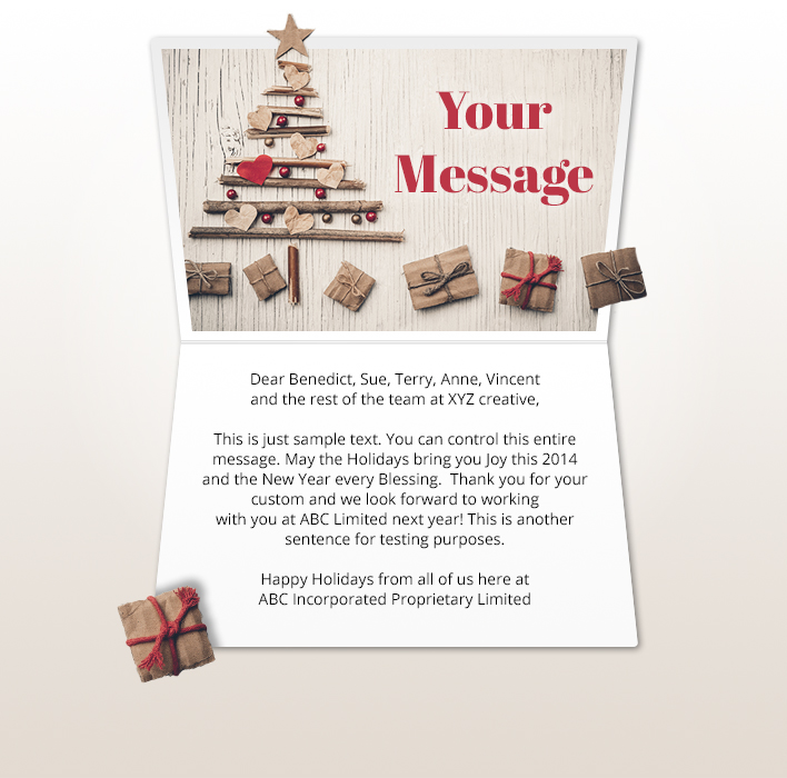 Static Christmas eCards for Business: Tree and Gifts