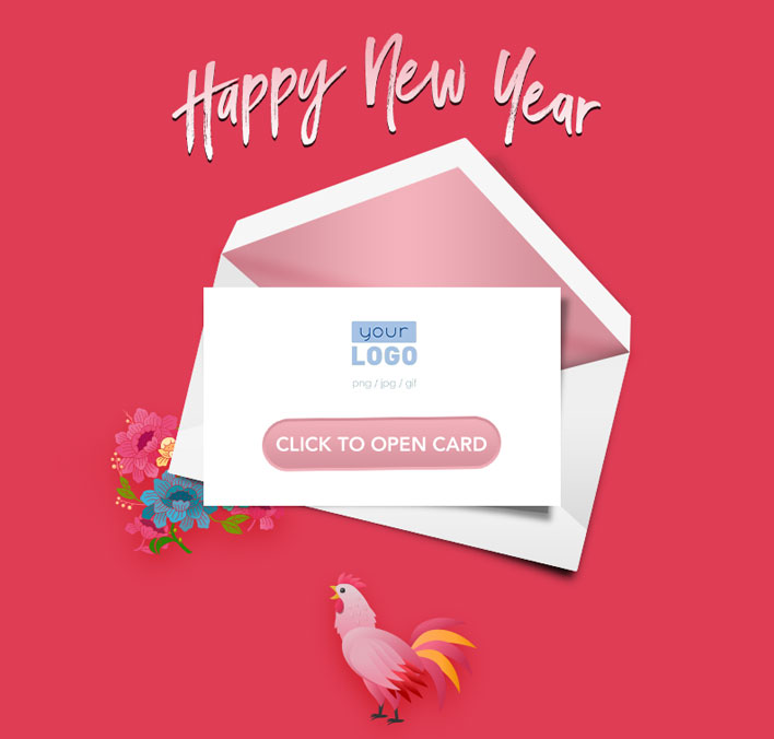 Interactive Chinese Lunar New Year 2017 eCards for Business: Pink Rooster Teaser