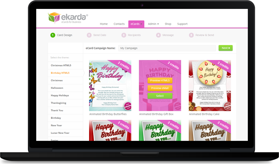 Create and Order Professional Birthday eCards for Business