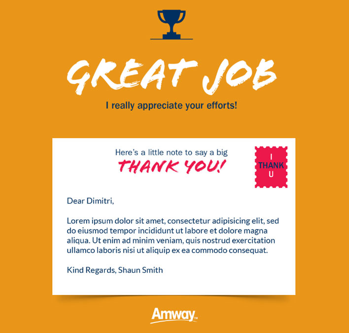 Thank You Static eCards eCards for Business: Amway Great Job
