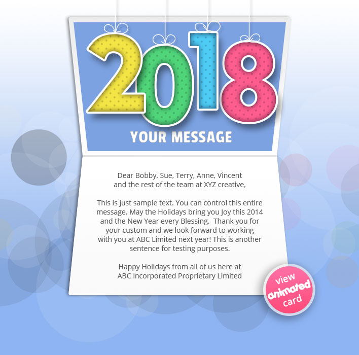 Animated Webpage eCards for Business: New Year Colour 2018