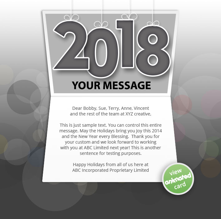 Animated Webpage eCards for Business:  New Year Dark 2018