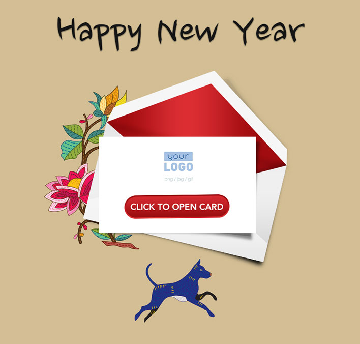 Interactive Chinese Lunar New Year 2018 eCards for Business: Blue Dog 2018 Teaser