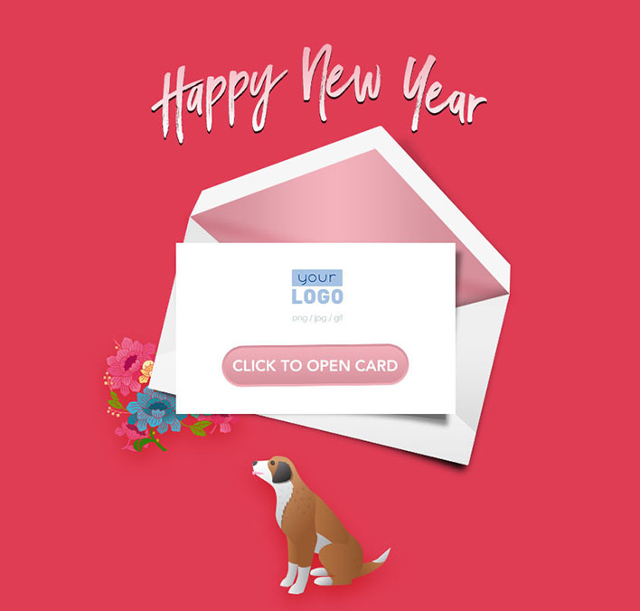 Interactive Chinese Lunar New Year 2018 eCards for Business: Pink Dog Teaser