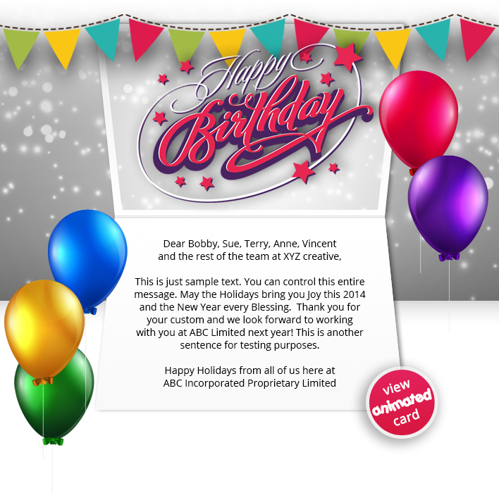 BIRTHDAY FLAGS EMAIL HTML5 Corporate Birthday ECard