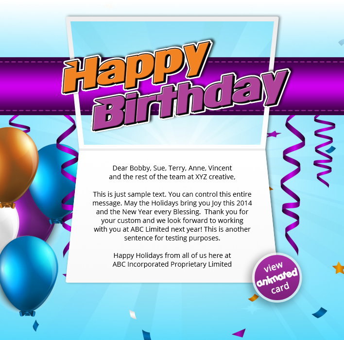 BIRTHDAY STREAMERS EMAIL HTML5 Corporate Birthday ECard