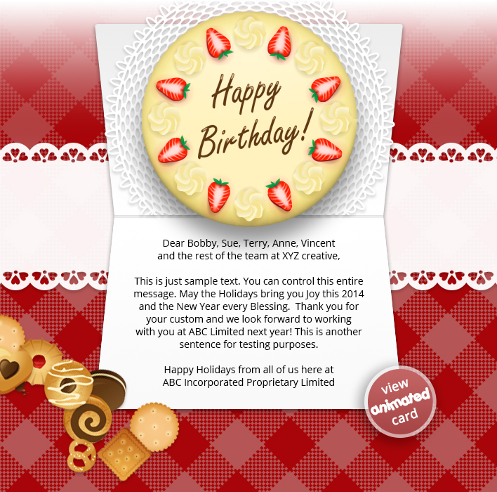 HTML5 Corporate Birthday eCard eCards for Business: Birthday Cake eMail