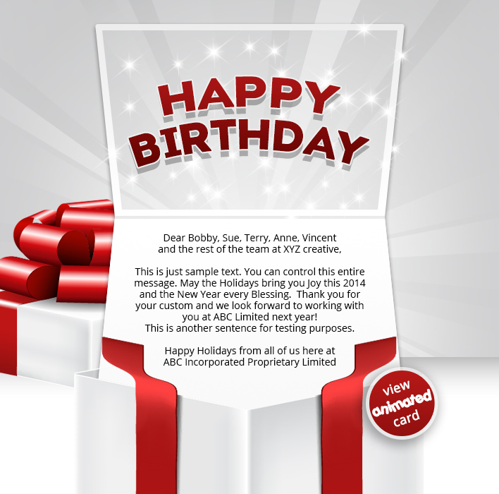 BIRTHDAY GIFT BOX EMAIL HTML5 Corporate Birthday ECard