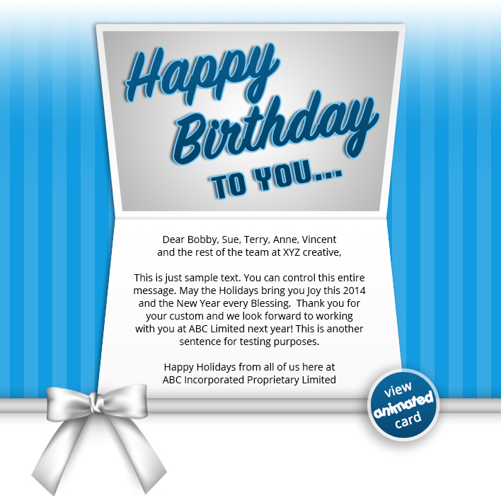 HTML5 Birthday eCards for Business: Birthday Bow Blue eMail