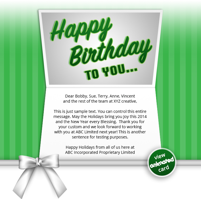 BIRTHDAY BOW GRN EMAIL HTML5 Corporate Birthday ECard