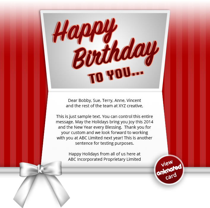 HTML5 Corporate Birthday eCard eCards for Business: Birthday Bow Red eMail