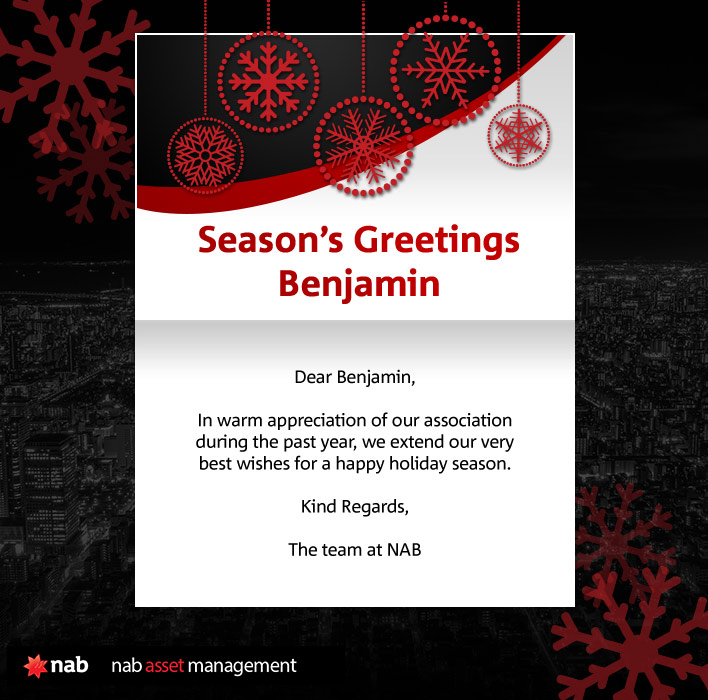 Company Christmas Cards eCards for Business: NAB Asset Management
