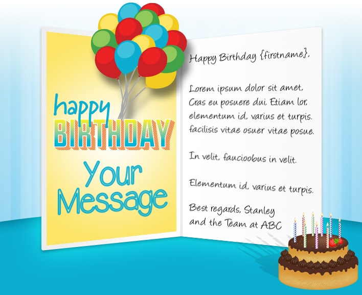 Static Company Birthday eCards eCards for Business: Chocolate Cake