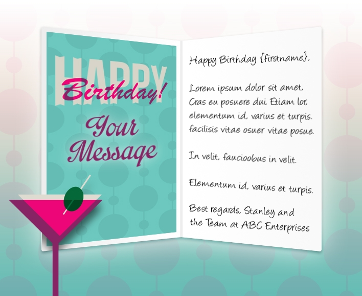 Static Company Birthday eCards eCards for Business: Birthday Martini
