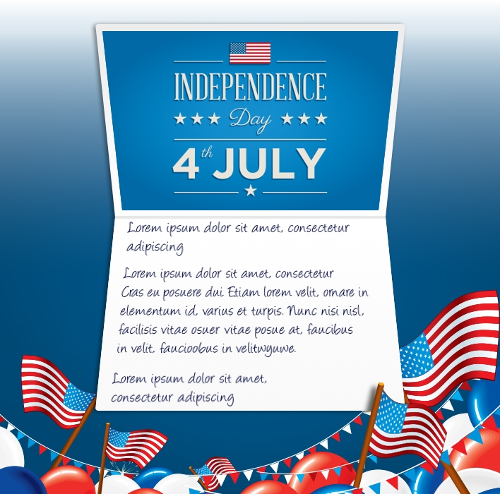 4th July eCards for Business: Flags and Balloons