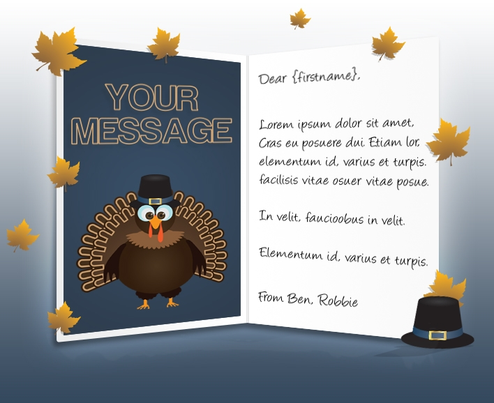 Thanksgiving eCards for Business: Turkey and Leaves
