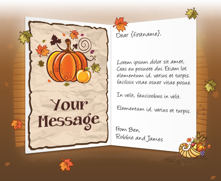 Thanksgiving eCards for Business: Pumpkin Cornucopia