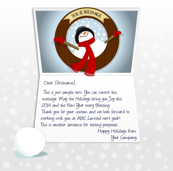 Static Christmas eCards for Business: Snowman Porthole EU
