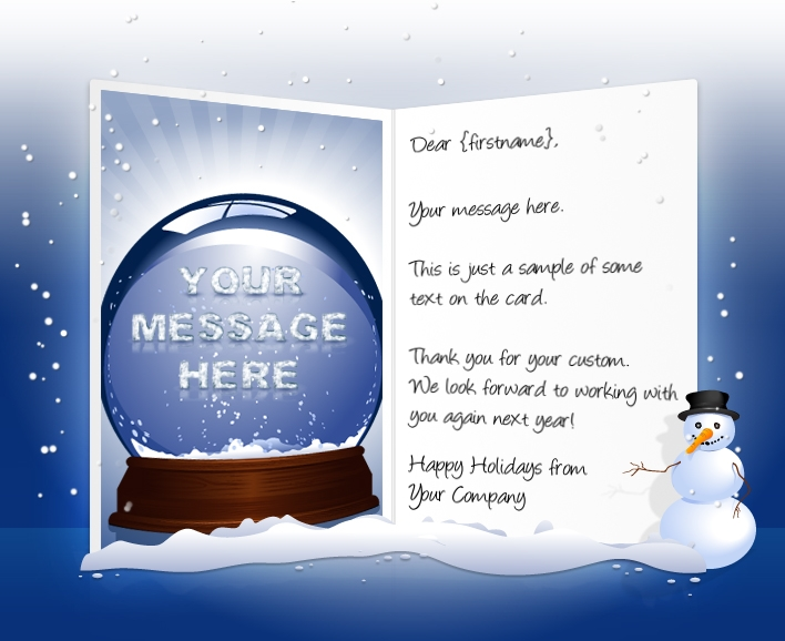 snow dome - Custom Holiday Cards For Business