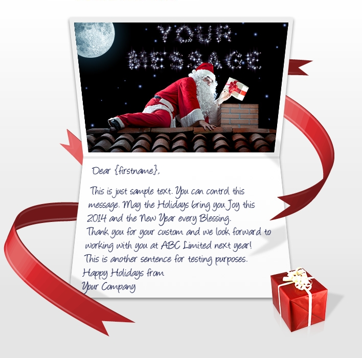 Static Christmas eCards for Business: Santa with Stars EU