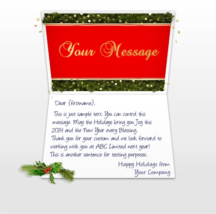 Company Christmas Cards eCards for Business: Confetti and Pine EU