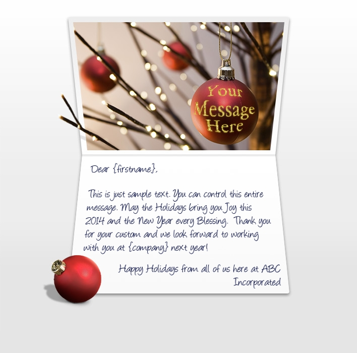 Static Christmas eCards for Business: Tree Balls Red