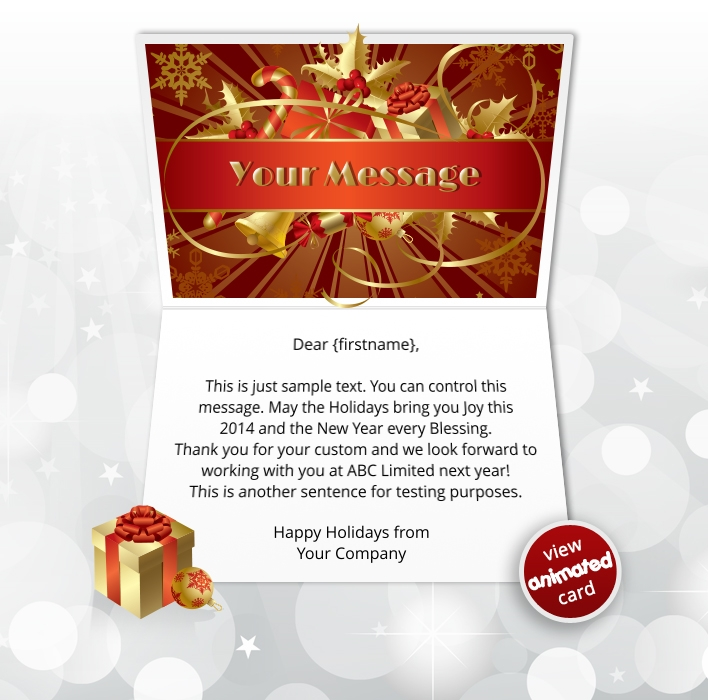Interactive Christmas HTML5 eCard eCards for Business: Animated Ribbon Red