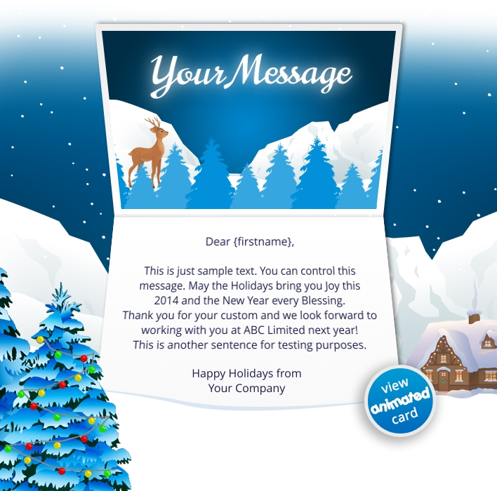 Animated Webpage eCards for Business: Animated Mountains with Tree