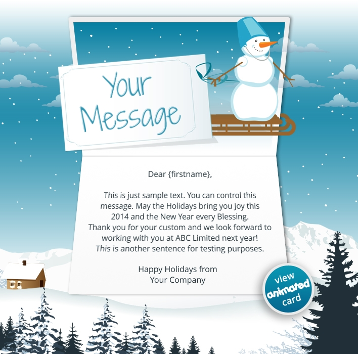 Corporate Holiday eCards for Business with logo 2016: Animated Snowman