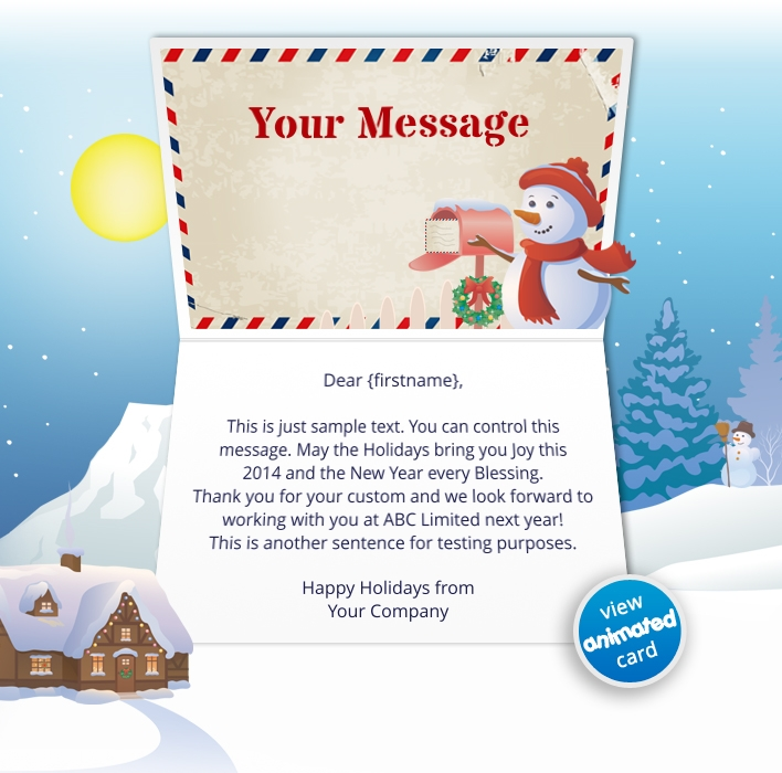 Interactive Christmas HTML5 eCard eCards for Business: Animated Letter