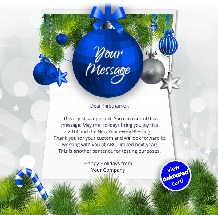 Animated Webpage eCards for Business: Animated Blue Baubles