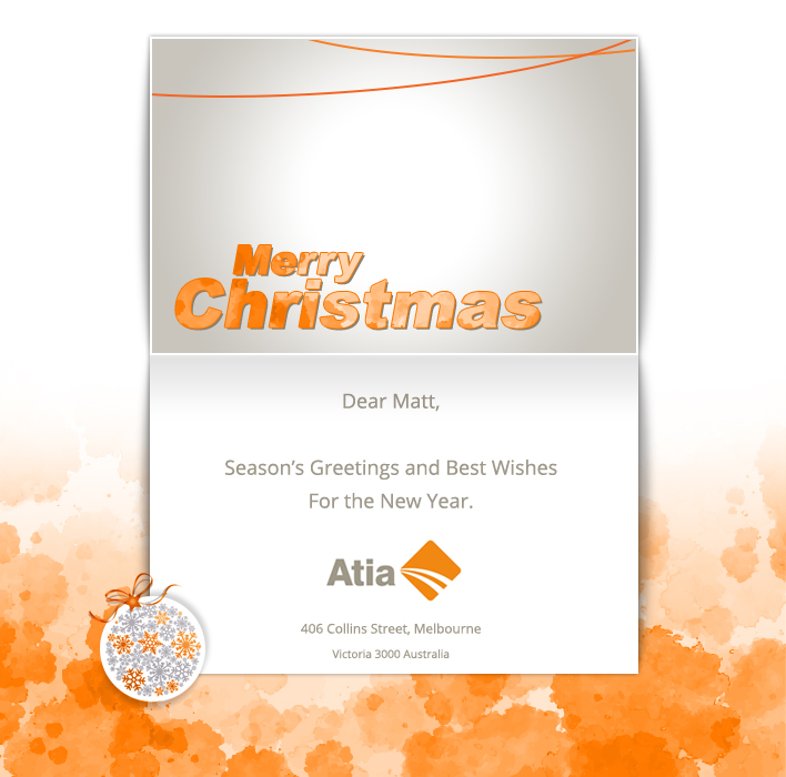 Your Logo Company Christmas Cards eCards for Business: Atia Xmas. ATIA XMAS